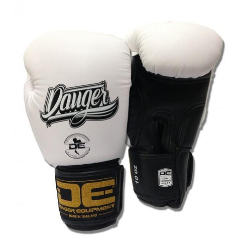 Boxing Gloves - Danger White / Black With Black Cuff Classic Edition Kids Boxing Gloves