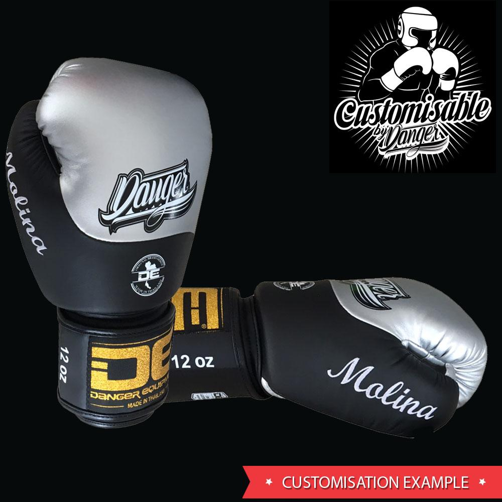 Boxing Gloves - Danger White / Black With Red Cuff Classic Edition Kids Boxing Gloves