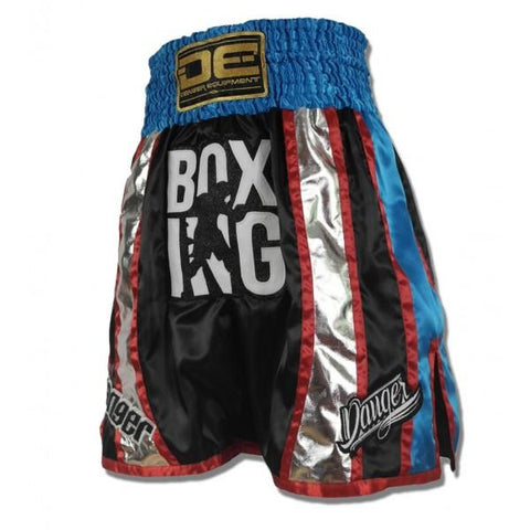 Boxing / K-1 Shorts - Danger Black With Blue / Silver Stripes Boxing / K-1 Shorts