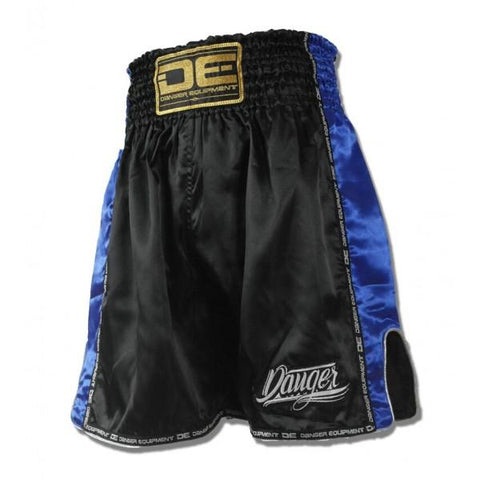 Boxing / K-1 Shorts - Danger Black With Blue Trim Boxing / K-1 Shorts