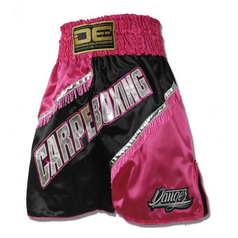 "Boxing / K-1 Shorts - Danger Pink / Black ""CarpeBoxing"" Boxing / K-1 Shorts"