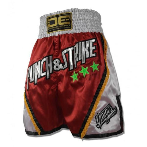 "Boxing / K-1 Shorts - Danger Red / White ""Punch & Strike"" Boxing / K-1 Shorts"