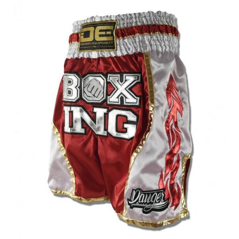 Boxing / K-1 Shorts - Danger Red / White With Gold Trim Boxing / K-1 Shorts
