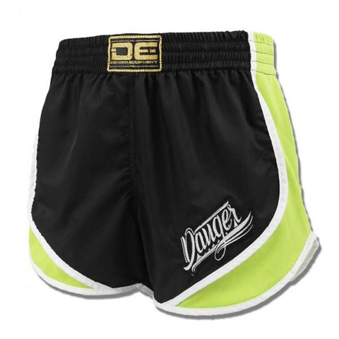 High Cut Shorts - Danger Black With Green Trim High Cut Shorts
