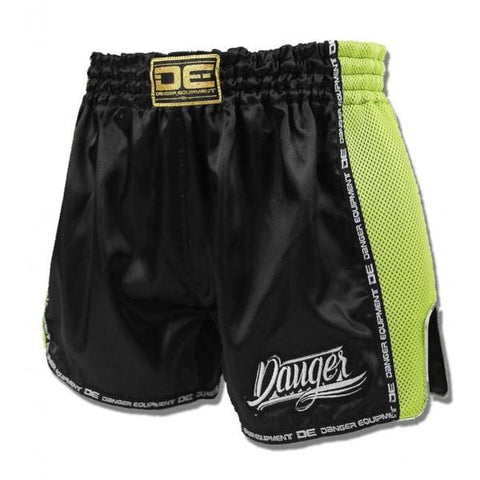 Low Cut Shorts - Danger Black With Green Microfibre Low Cut Shorts
