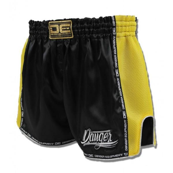 Low Cut Shorts - Danger Black With Yellow Microfibre Low Cut Shorts