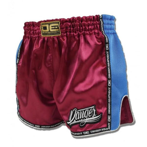Low Cut Shorts - Danger Maroon With Light Blue Microfibre Low Cut Shorts