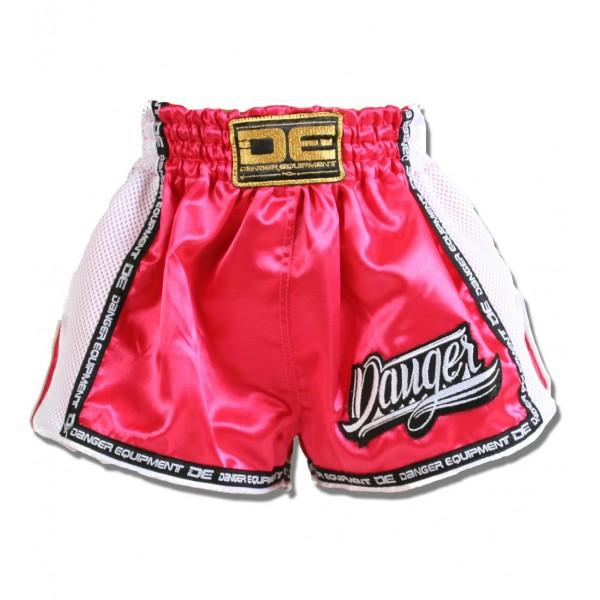 Low Cut Shorts - Danger Pink With White Microfibre Kids Low Cut Shorts