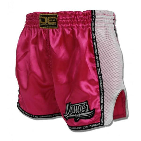 Low Cut Shorts - Danger Pink With White Microfibre Low Cut Shorts
