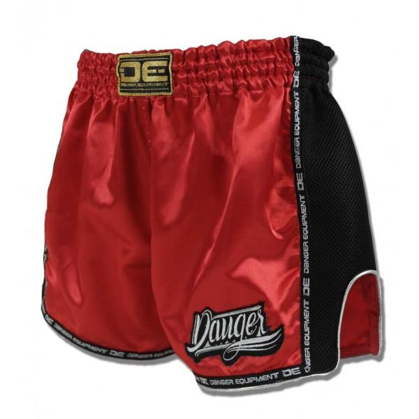 Low Cut Shorts - Danger Red With Black Microfibre Low Cut Shorts