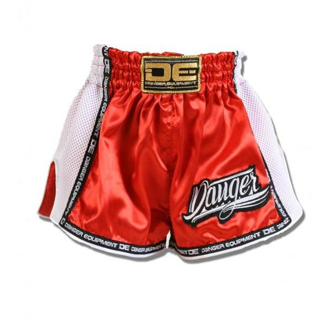 Low Cut Shorts - Danger Red With White Microfibre Kids Low Cut Shorts
