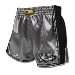 Low Cut Shorts - Danger Silver With Black Microfibre Low Cut Shorts