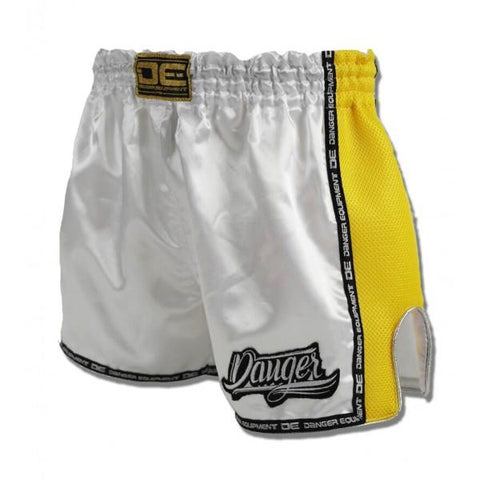 Low Cut Shorts - Danger White With Yellow Microfibre Low Cut Shorts