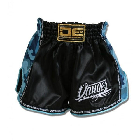 Muay Thai Shorts - Danger Black / Blue Camo Kids Low Cut Shorts