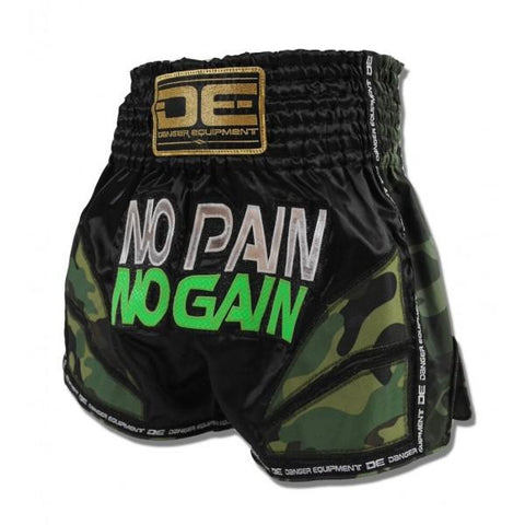 "Muay Thai Shorts - Danger Black / Camo ""No Pain No Gain"" Muay Thai Shorts"
