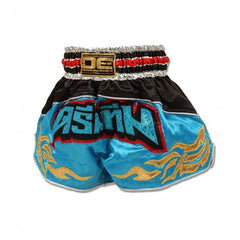 "Muay Thai Shorts - Danger Black / Light Blue ""Dream Team"" Kids Muay Thai Shorts"