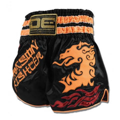 "Muay Thai Shorts - Danger Black / Orange ""Dragon"" Muay Thai Shorts"