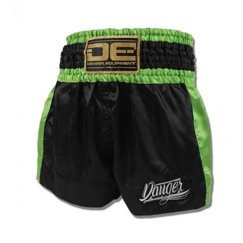 "Muay Thai Shorts - Danger Black With Green Trim ""Eco"" Muay Thai Shorts"
