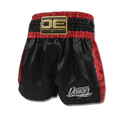 "Muay Thai Shorts - Danger Black With Red Trim ""Eco"" Muay Thai Shorts"