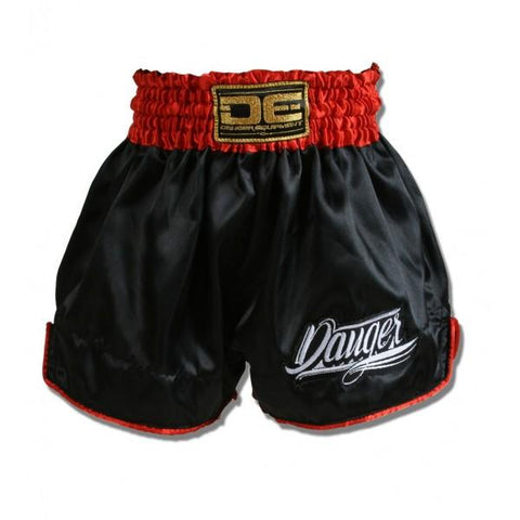 Muay Thai Shorts - Danger Black With Red Trim Kids Muay Thai Shorts
