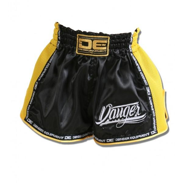 Muay Thai Shorts - Danger Black With Yellow Microfibre Kids Low Cut Shorts
