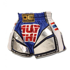 "Muay Thai Shorts - Danger Blue / Silver With White Microfibre ""Thai Flag"" Kids Muay Thai Shorts"