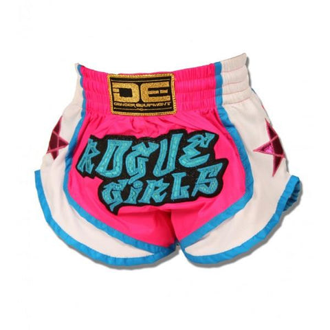 "Muay Thai Shorts - Danger Pink / White ""Rogue Girls"" Kids Muay Thai Shorts"
