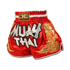 Muay Thai Shorts - Danger Red / Gold Kids Muay Thai Shorts