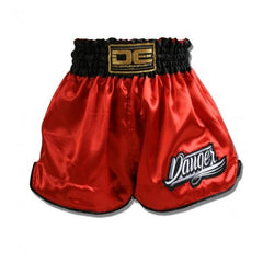 Muay Thai Shorts - Danger Red With Black Trim Kids Muay Thai Shorts