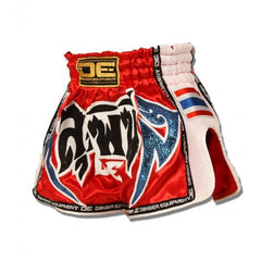 "Muay Thai Shorts - Danger Red With White Microfibre ""Lumpini"" Kids Muay Thai Shorts"