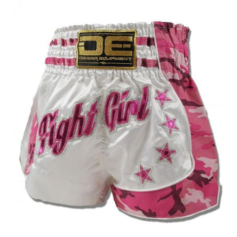 "Muay Thai Shorts - Danger White / Pink Camo ""Fight Girl"" Muay Thai Shorts"