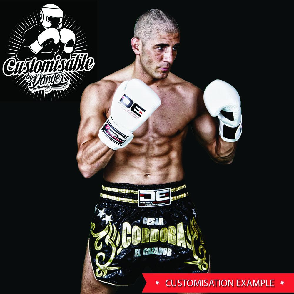 "Muay Thai Shorts - Danger White / Pink Camo ""Fight Smart"" Kids Muay Thai Shorts"