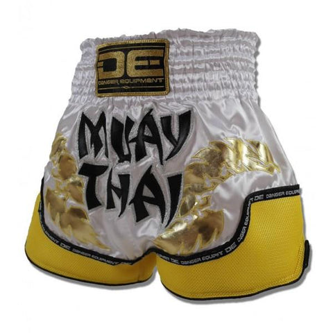 Muay Thai Shorts - Danger White With Yellow Microfibre Muay Thai Shorts