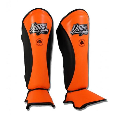 Shin Guards - Danger Orange / Black Evolution Edition Kids Shin Guards
