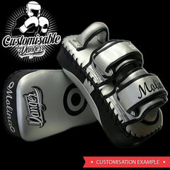 "Thai Pads - Danger White / Black Kicking ""Pro Edition"" Thai Pads"