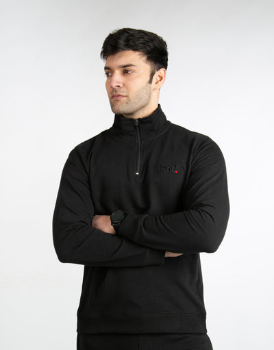 Pitch Black Mock-Neck Zipper Sweatshirt - RadStore.pk