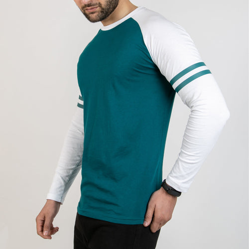 Striped Sleeves Turquoise Baseball Raglan