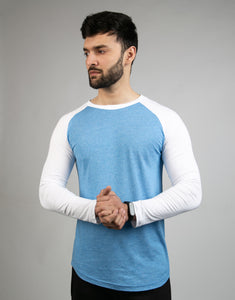 Textured Sky Blue & White Raglan