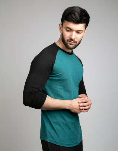 Textured Teal Raglan With Black Sleeves