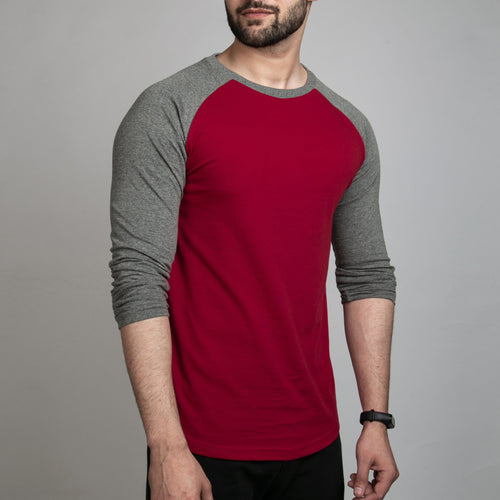 Red & Charcoal Gray Raglan