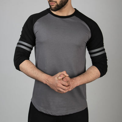 Striped Sleeves Smoke Gray Baseball Raglan - RadStore.pk