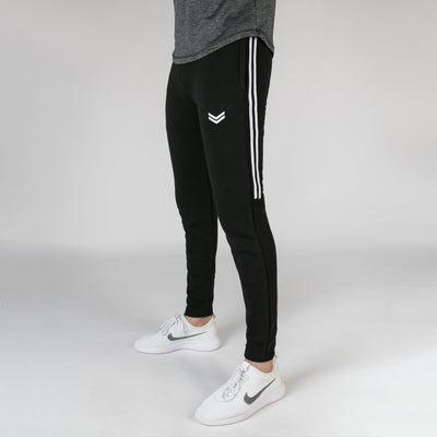 Black Bottoms With White Contrast Side Tape v2 - RadStore.pk