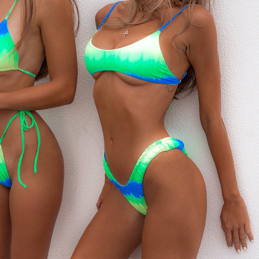 STEVIE NEON TIE-DYE ELASTICATED BIKINI BOTTOM - VDM THE LABEL