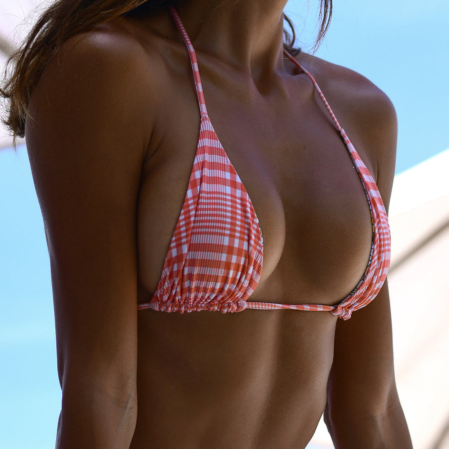 MARLEY PEACH RIB / PEACH PLAIN REVERSIBLE BIKINI BOTTOM - VDM THE LABEL