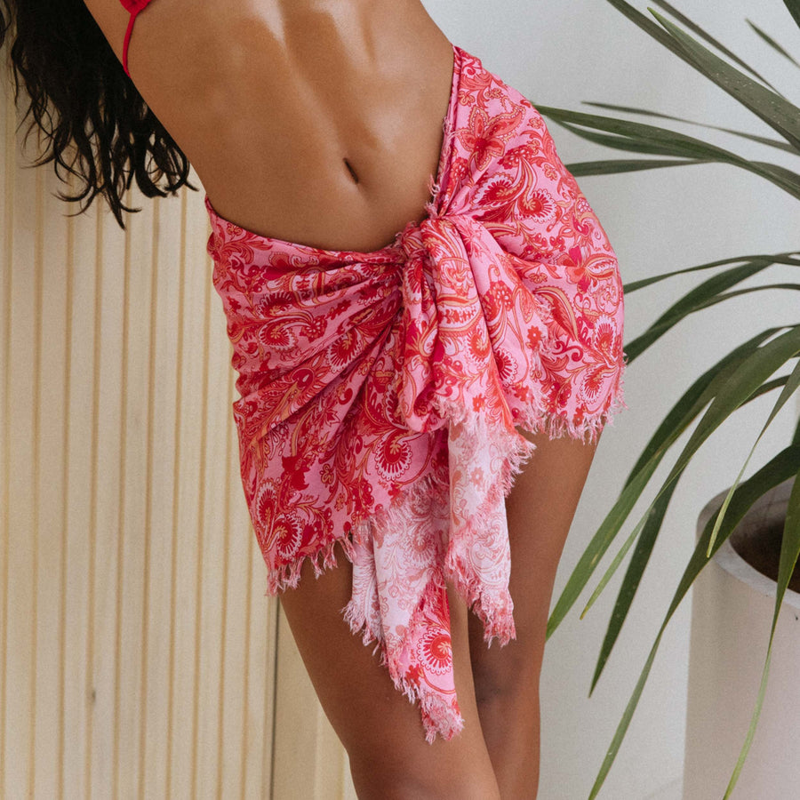 AMIEE PINK PAISLEY 90's FRINGED COVER-UP SARONG.