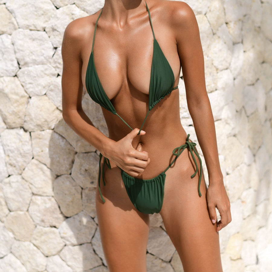 MARLEY KHAKI RIB / KHAKI PLAIN REVERSIBLE BIKINI BOTTOM - VDM THE LABEL