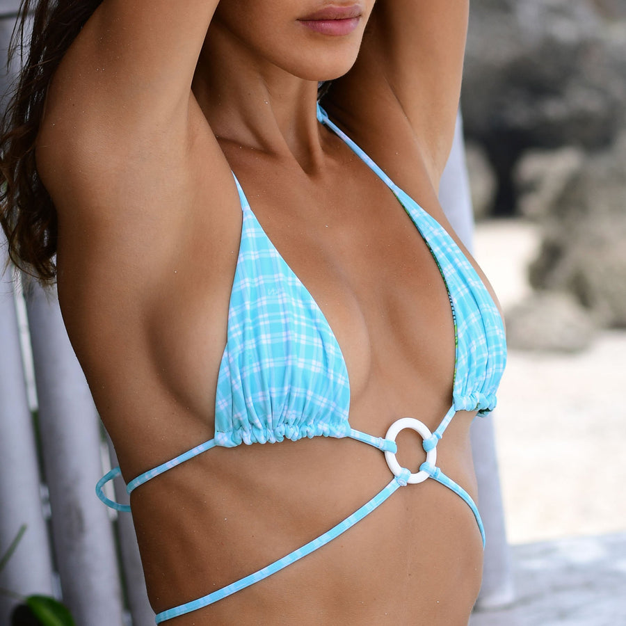 ZIGGY TROPICAL/MINT CHECK REVERISBLE BIKINI TOP || PRE ORDER ONLY SHIPPING END MAY