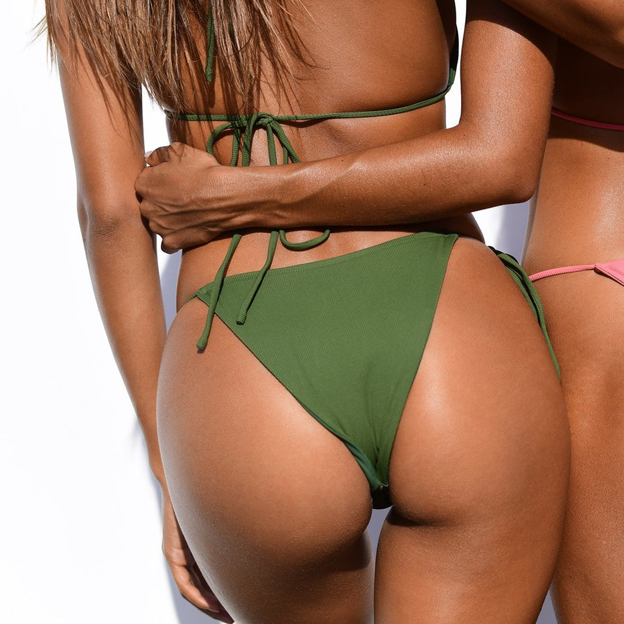 MARLEY KHAKI RIB / KHAKI PLAIN REVERSIBLE BIKINI BOTTOM | PRE-ORDER ONLY | DUE MID-NOVEMBER - VDM