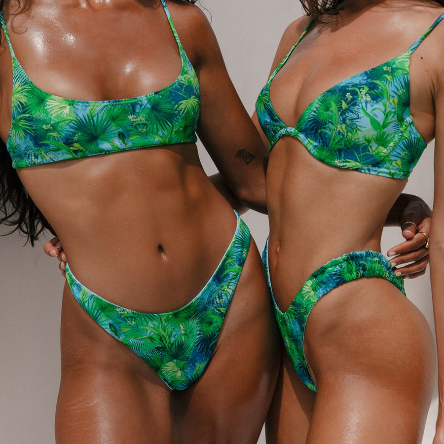 STEVIE TROPICAL/MINT CHECK REVERSIBLE BIKINI BOTTOMS