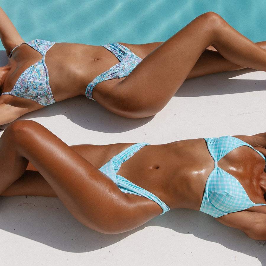 HEATHER PASTEL PAISLEY/MINT CHECK REVERSIBLE BIKINI BOTTOMS